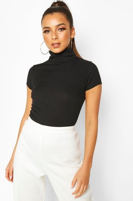 boohoo Rib Roll Neck Cap Sleeve Top