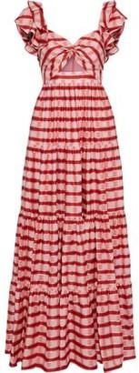 Diane von Furstenberg Shea Twist-front Cutout Checked Organza Maxi Dress