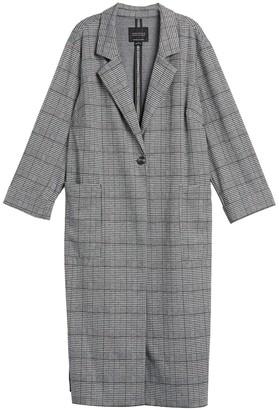 Sanctuary Plaid Knit Duster Coat (Plus Size)