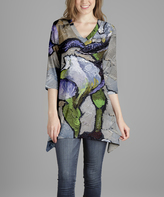 Lily Gray & Green Abstract V-Neck Tunic - Plus Too