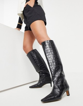 ASOS DESIGN Colette premium leather mid-heeled pull on knee boots in black