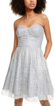 Blondie Nites Juniors' Strapless Glitter Fit & Flare Dress