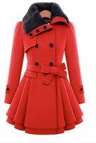 EOCEAN Women Long Section Double-breasted Windbreaker Slim Wool Coat (S, )