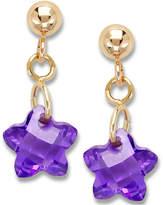 Macy's Children's 14k Gold Earrings, Purple Cubic Zirconia Star Earrings (6mm)