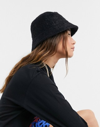 Accessorize fluffy bucket hat in black