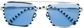 Calvin Klein Square Framed Striped Sunglasses