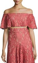 Alexis Taza Off-the-Shoulder Lace Crop Top, Pink