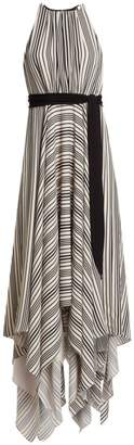 Halston Sleeveless Strip Back Striped Handkerchief Dress