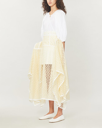 Loewe Basque semi-sheer lace and cotton maxi skirt