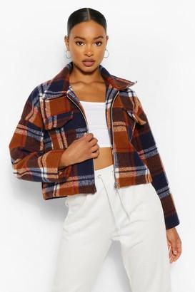 boohoo Wool Look Checked Trucker Jacket