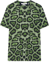 Givenchy T-shirt In Green Leopard-print Cotton-jersey - large