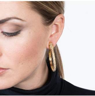 Kenneth Jay Lane Gold And Crystal Pave Snake Hoop Pierced Earrings