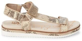 Sam Edelman Annalise Snakeskin-Print Leather Ankle-Strap Sandals