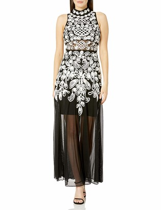 Betsy & Adam Women's High Neck Embroidered Gown