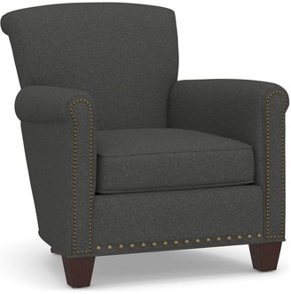 Pottery Barn Irving Roll Arm Upholstered Armchair with Nailheads
