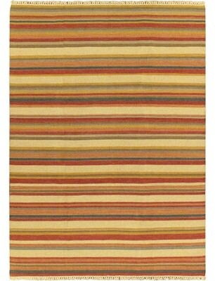 "Bay Isle Home Valmar Striped Cream Area Rug Rug Size: Rectangle 6'7"" x 9'2"""