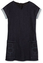 Karl Lagerfeld Cap-Sleeve Stretch Denim Shift Dress, Denim Blue, Size 12-16