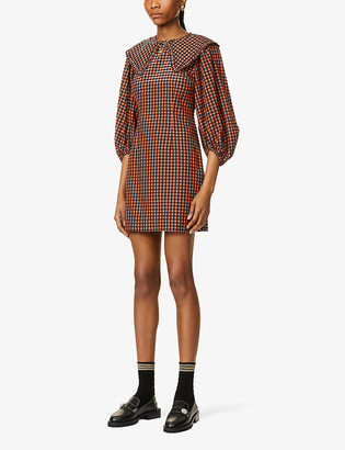 Ganni Checked seersucker recycled polyester and organic cotton-blend mini dress
