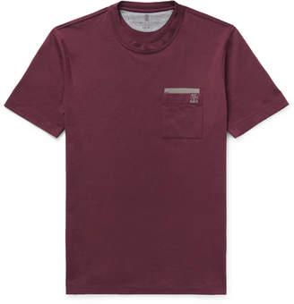 Brunello Cucinelli Contrast-Trimmed Cotton-Jersey T-Shirt