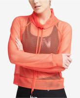 DKNY Sport Mesh Funnel-Neck Top