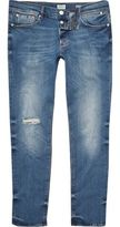 River Island Mens Mid blue wash Sid distressed skinny jeans