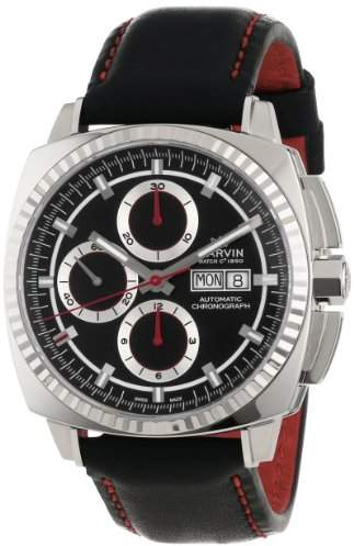 """Marvin Men's M118.15.41.64 """"Malton"""" Stainless Steel Automatic Watch with Black Leather Band"""