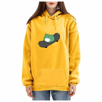 Hrzgj Women's Cute Hoodies Casual Solid Color Tops Cartoon Frog Skateboard Printing Long Sleeve Drawstring Hooded Loose Oversize Pullover with Large Pocket Yellow