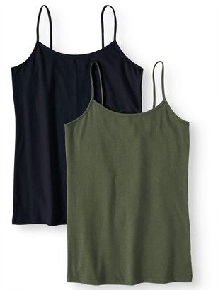 Time and Tru Women's Cami Tank Top, 2-Pack Bundle
