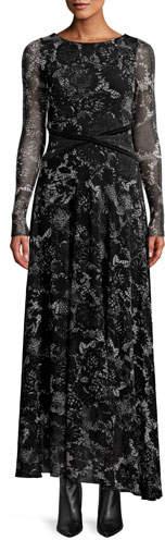 Fuzzi Floral Lace Long-Sleeve Wrap-Waist Maxi Dress