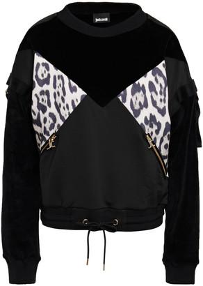 Just Cavalli Strap-detailed Paneled Velvet And Leopard-print Jersey Sweatshirt