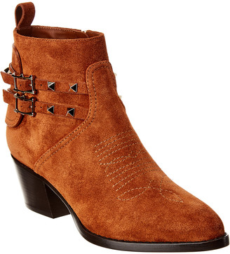 Valentino Rockstud Cowboy Split Leather Bootie