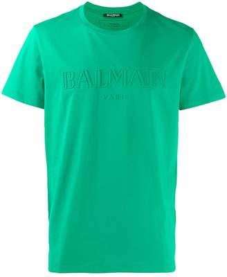 Balmain logo embossed T-shirt