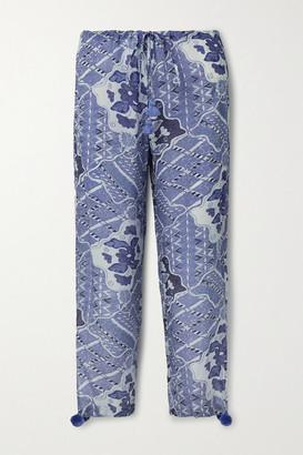 Figue Goa Embellished Printed Crepe De Chine Pants - Blue