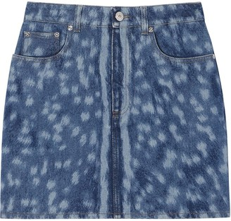 Burberry Deer Print Denim Mini Skirt