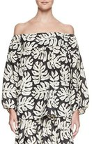Chloé Palm-Print Off-the-Shoulder Blouse, White/Black