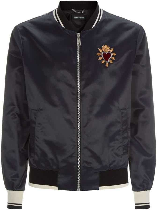 Dolce & Gabbana Heart Appliqué Bomber Jacket