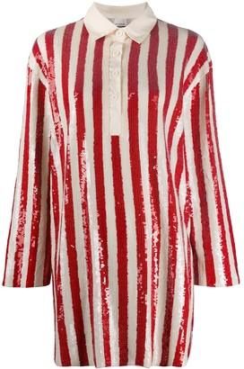 Pinko Shift Striped Pattern Shirt Dress