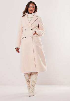 Missguided Nude Maxi Formal Coat