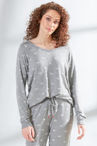 PJ Salvage Amour Love Lips Long Sleeve Top Grey XS
