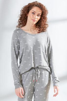 PJ Salvage Amour Love Lips Long Sleeve Top Grey XS