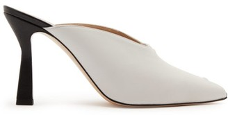 Wandler Niva Peep-toe Panelled Leather Mules - Womens - White Multi