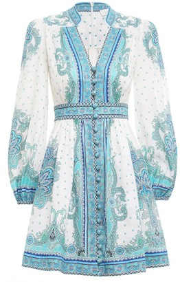 Zimmermann Bells Paisley Short Dress in Blue Paisley