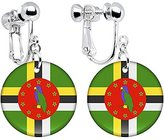 Body Candy Dominica Flag Clip on Earrings