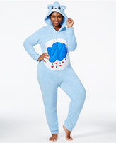 Briefly Stated Care Bear Plus Size Fuzzy Hooded Jumpsuit