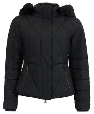 Ted Baker Short Faux Fur Hood Down Jacket Colour: BLACK, Size: 10