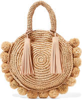 Loeffler Randall Circle Pompom-embellished Leather-trimmed Straw Tote - Beige