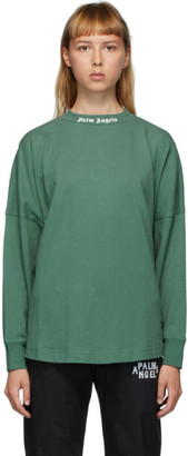 Palm Angels Green Classic Logo Long Sleeve T-Shirt
