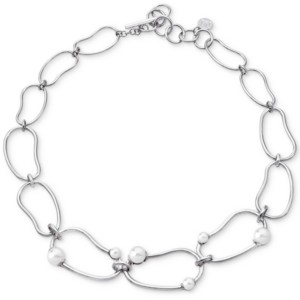 """Majorica Stainless Steel Imitation Pearl Graduated Link 18"""" Statement Necklace"""