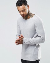 Asos Extreme Muscle Long Sleeve T-Shirt With Boat Neck In Gray