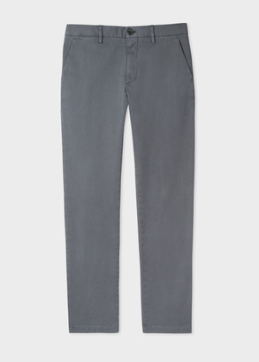Men's Mid-Fit Grey Stretch-Cotton Chinos